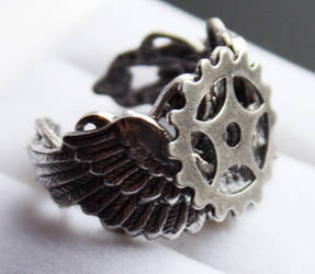 Steampunk ring by Pinkabsinthe