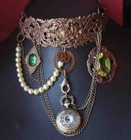 Steampunk pocket watch necklace by Pinkabsinthe