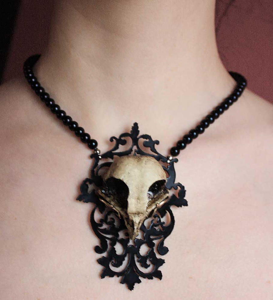 Owl skull necklace by Pinkabsinthe