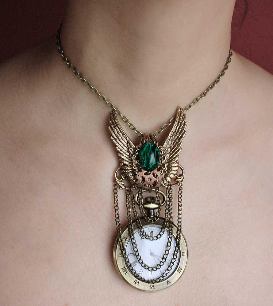 Steampunk emerald watch necklace by Pinkabsinthe