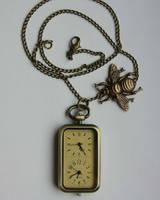Retro pocket watch necklace by Pinkabsinthe