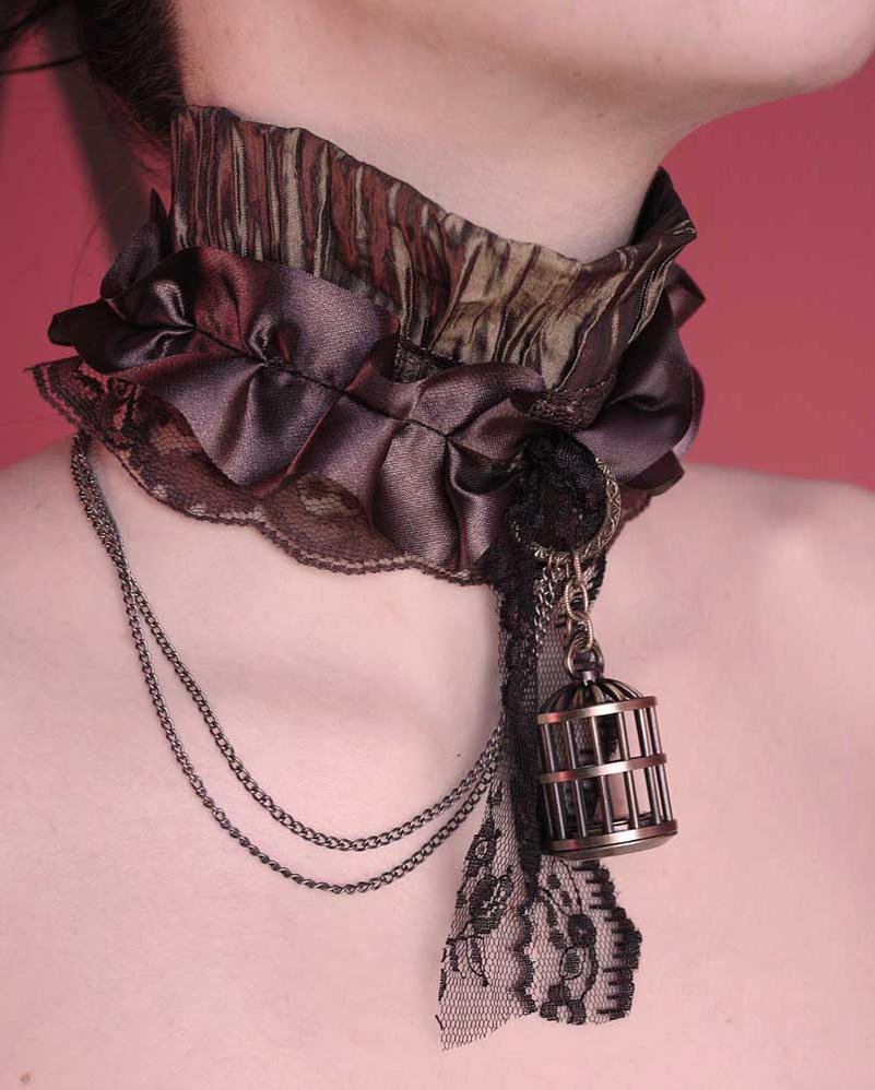 Bird cage pocket watch steampunk collar by Pinkabsinthe