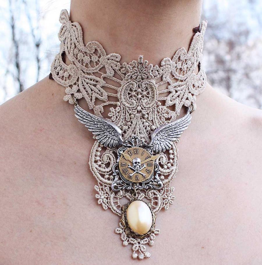 Ivory steampunk collar