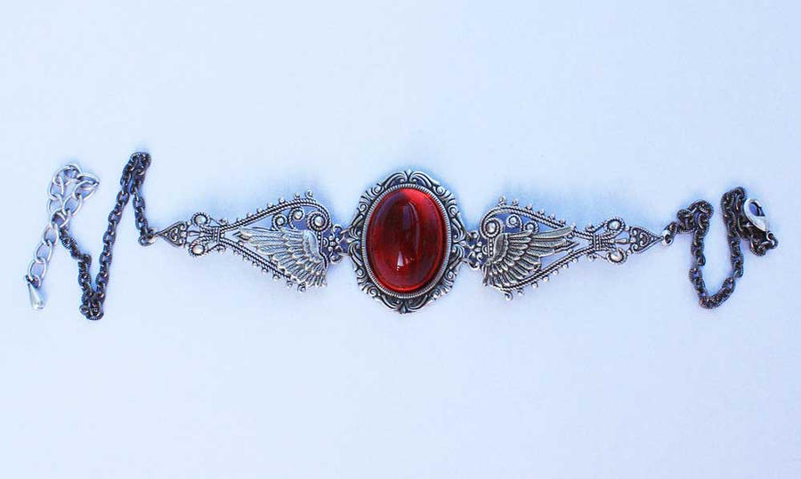 Ruby red winged necklace