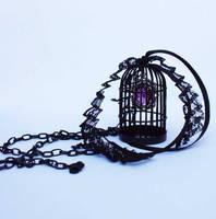Bird cage black violett necklace by Pinkabsinthe