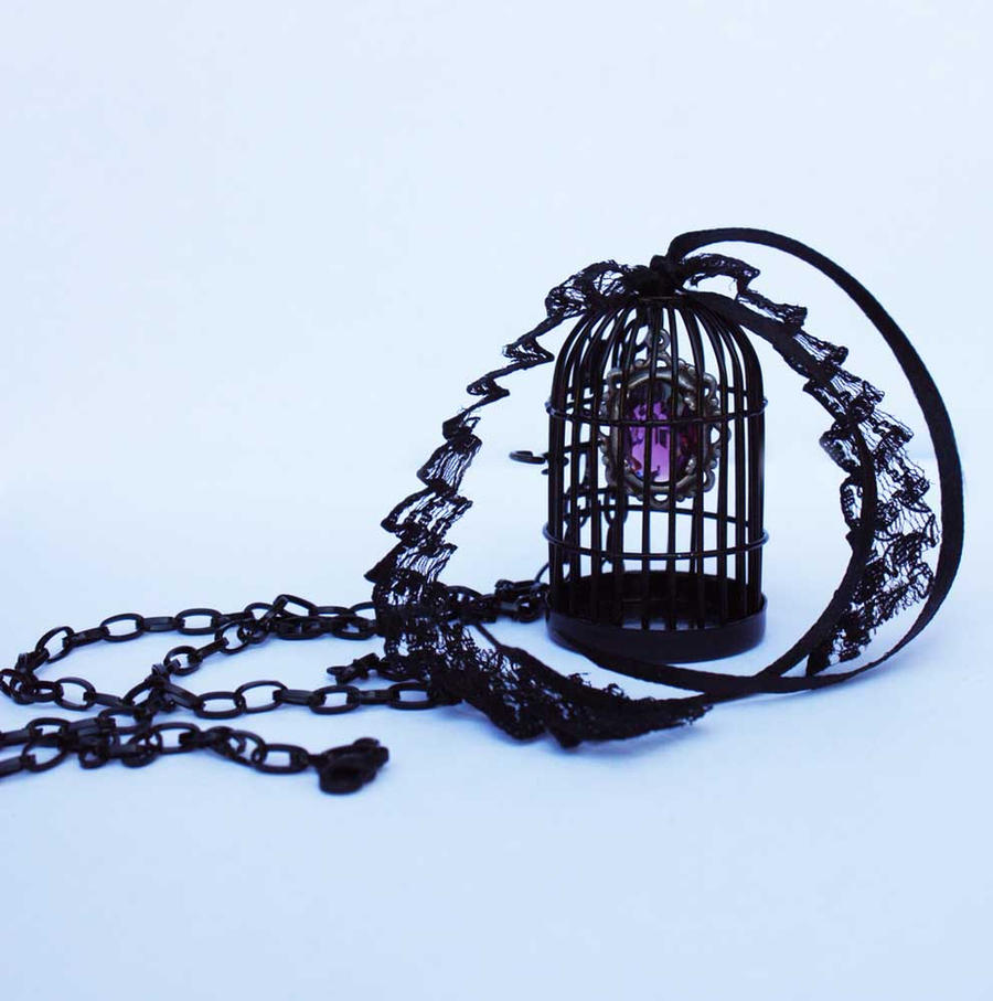 Bird cage black violett necklace by Pinkabsinthe