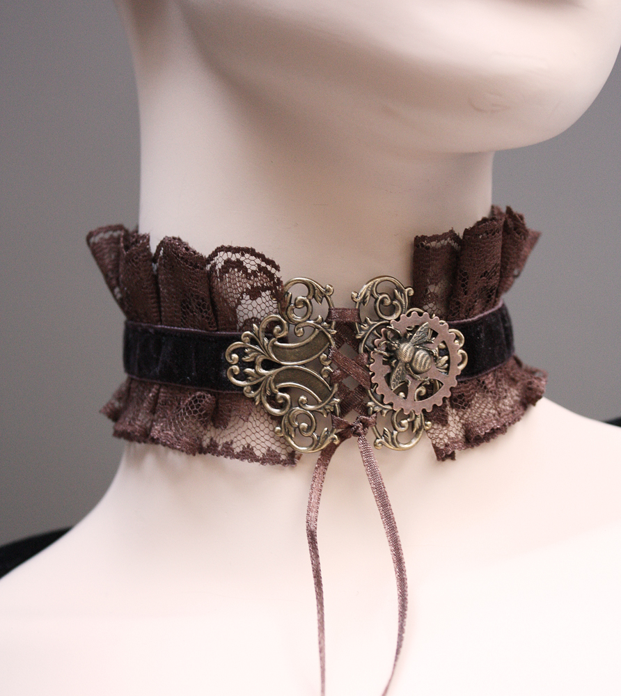 Chocolate brown neck corset by Pinkabsinthe