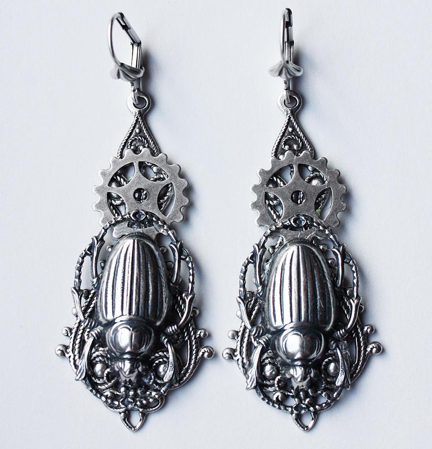 Scarab earrings by Pinkabsinthe
