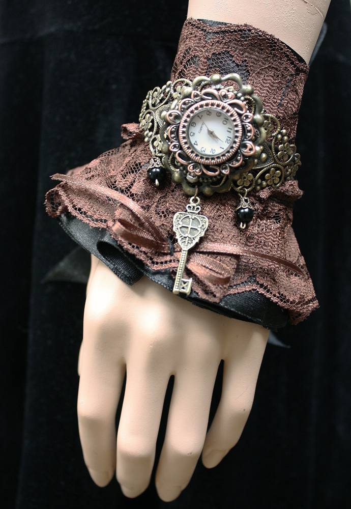 Gothic Lolita watch cuff by Pinkabsinthe