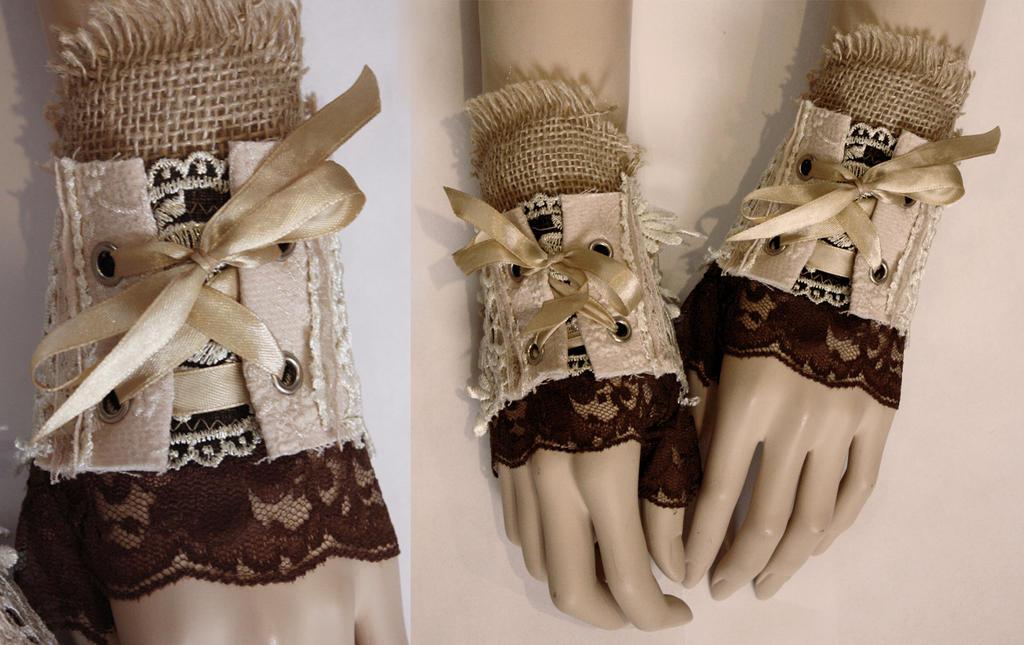 Boho bohemian corset mittens by Pinkabsinthe