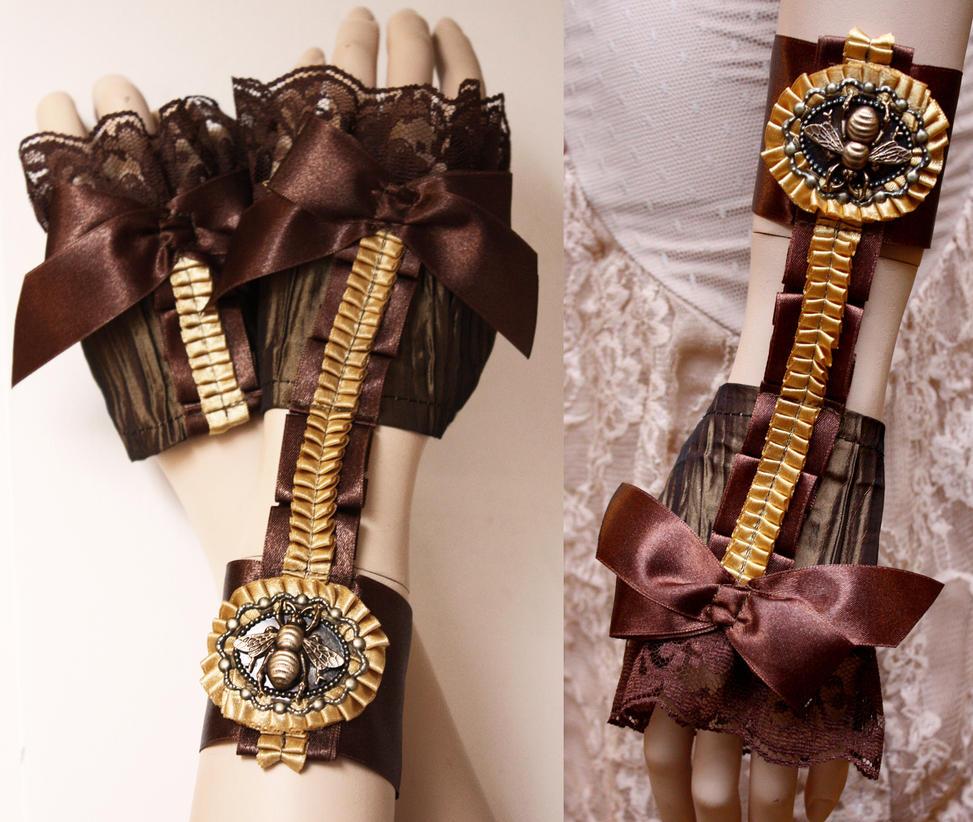 Steampunk Garter mittens by Pinkabsinthe