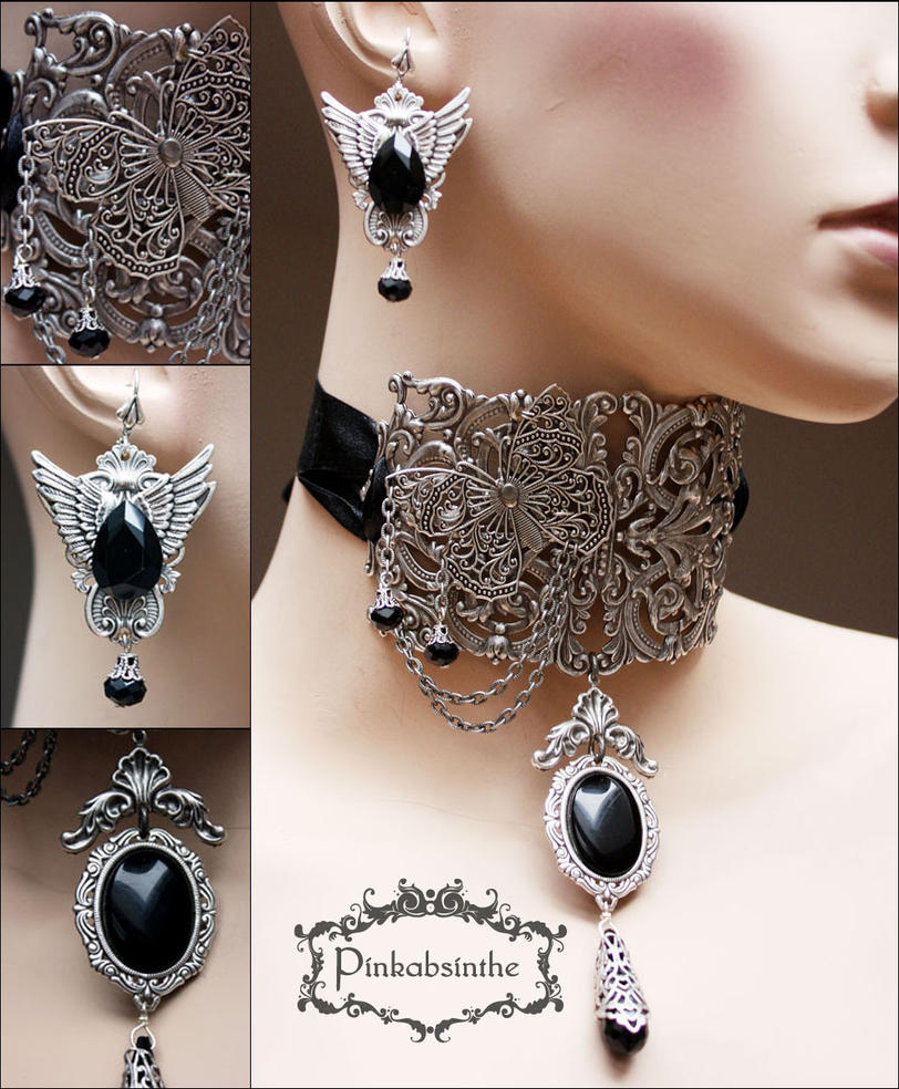 Filigree neck corset and winged earrings  III by Pinkabsinthe
