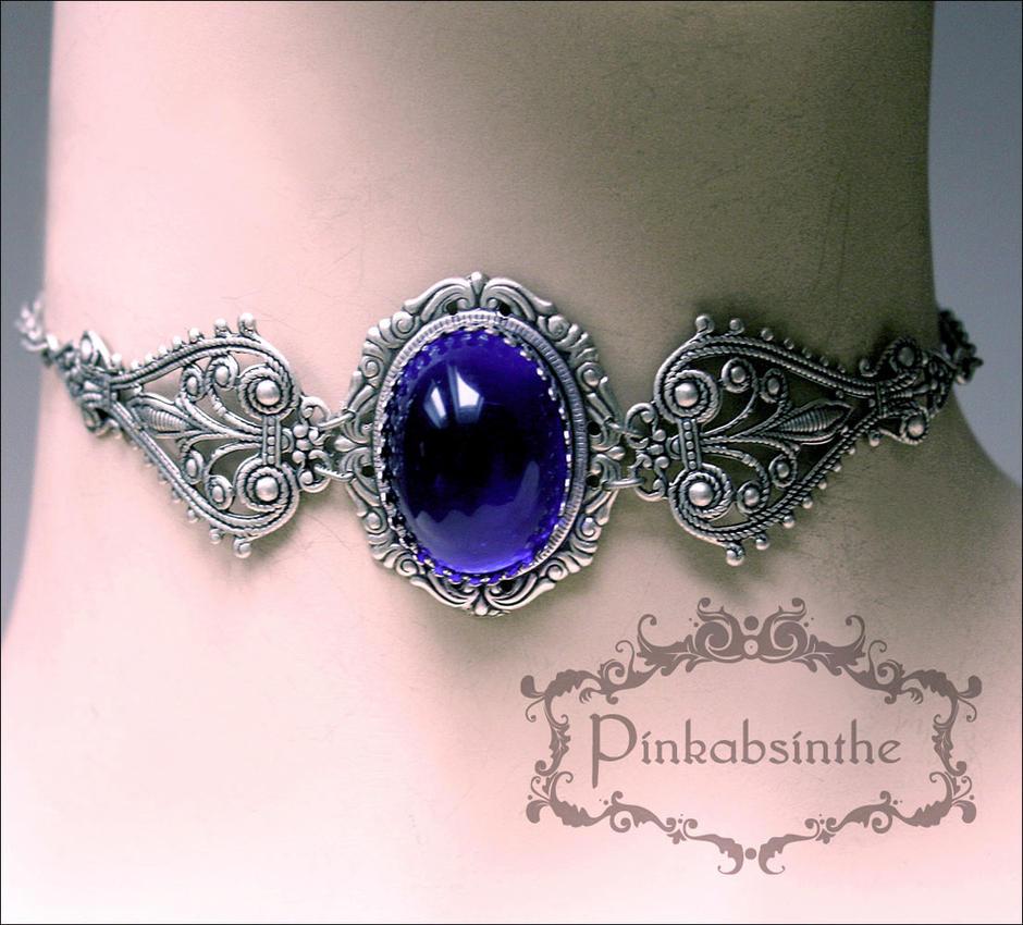 Sapphire blue choker by Pinkabsinthe