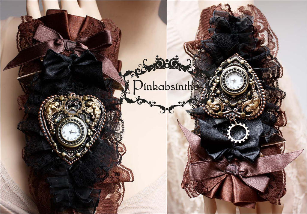 Brown n black boho watch cuff by Pinkabsinthe