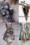 Set of cuff and skull pendant II