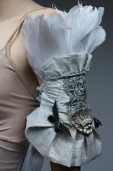 Armor style blue metallic shoulderwrist piece II by Pinkabsinthe