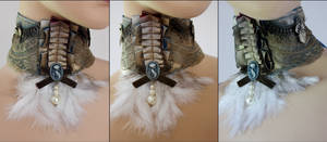 Cat cameo feather jabot
