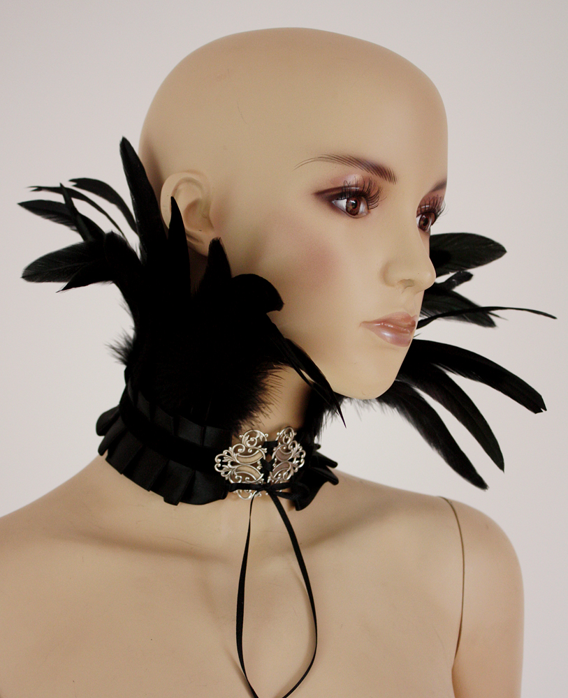 Feather neck corset II by Pinkabsinthe
