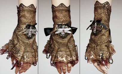 Dragonfly pinned cuff or jabot