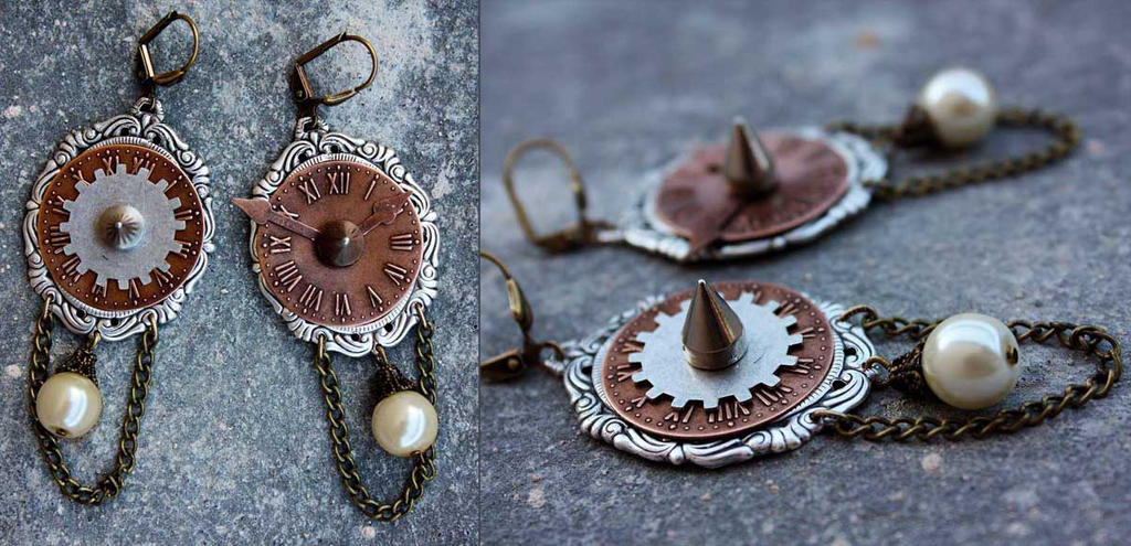 Steampunk earrings by Pinkabsinthe