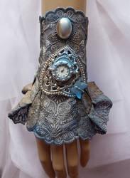 Blue patina watch cuff