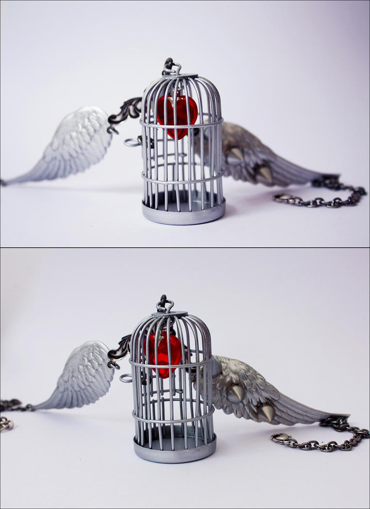 Winged cage necklace by Pinkabsinthe