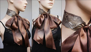 Antique gold and brown jabot by Pinkabsinthe