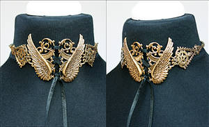 Winged steampunk necklace brass version by Pinkabsinthe