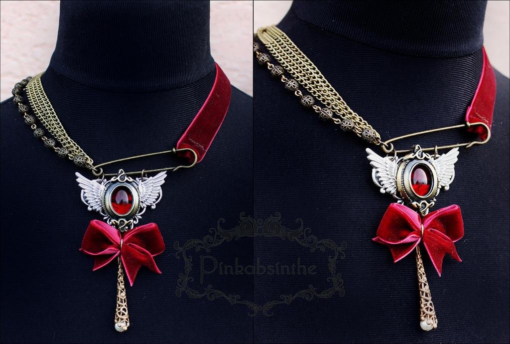 Burgundy necklace by Pinkabsinthe
