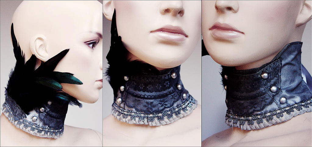 Hussar style feather collar by Pinkabsinthe