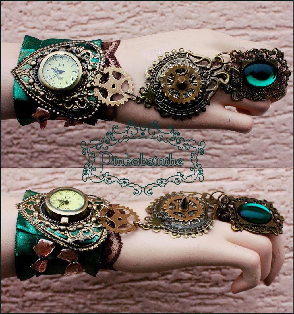 Emerald watch cuff by Pinkabsinthe