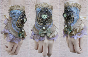 Turquoise and gold watch cuff by Pinkabsinthe