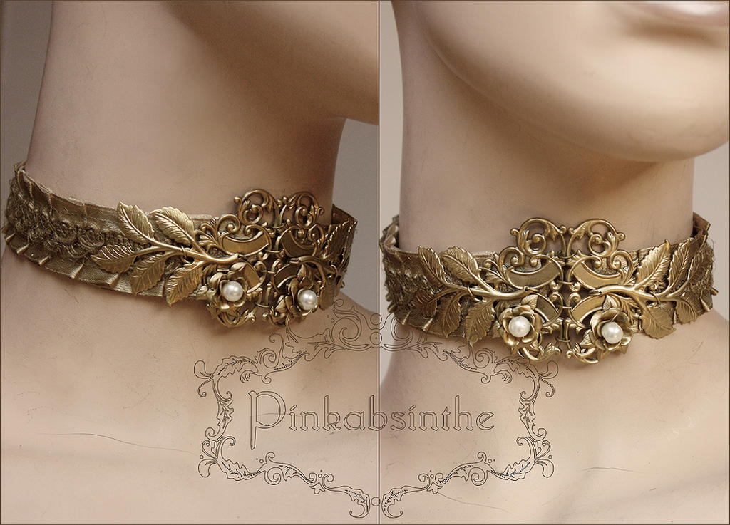 Gold neck corset by Pinkabsinthe