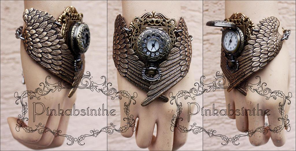 MALEFICENT winged watch cuff by Pinkabsinthe