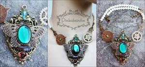 Emerald empress steampunk necklace