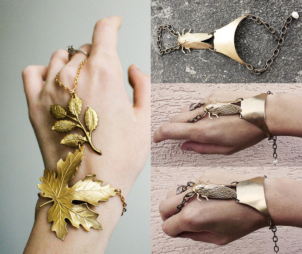 Fall Gold cuffs by Pinkabsinthe