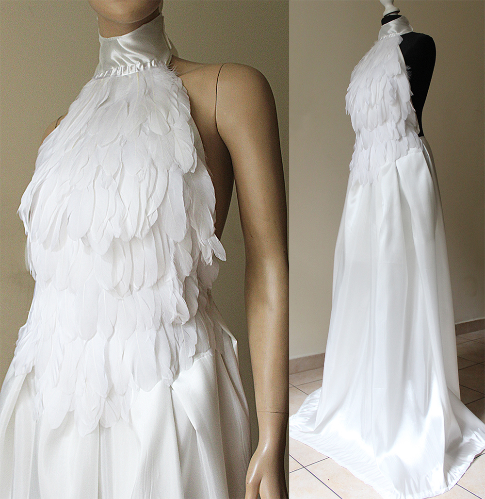 White swan elven wedding feather dress i by pinkabsinthe for White feather wedding dress