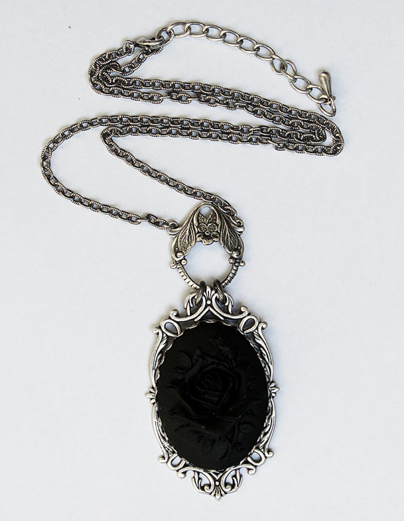 Black rose necklace by Pinkabsinthe