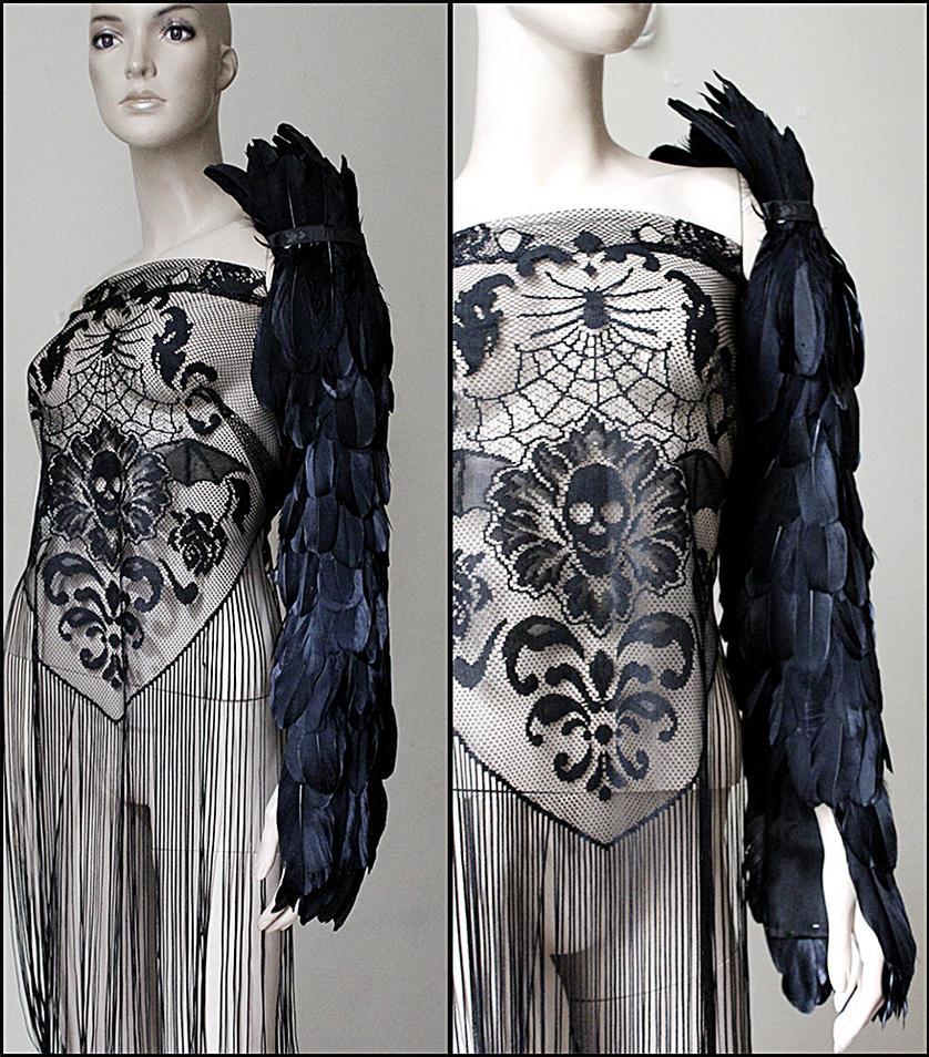 Raven wing sleeve armor shoulder piece II by Pinkabsinthe