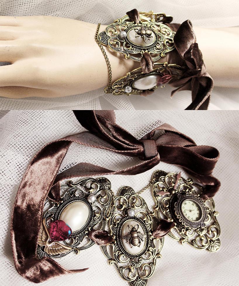 Massive Steampunk rococo choker or bracelet I by Pinkabsinthe