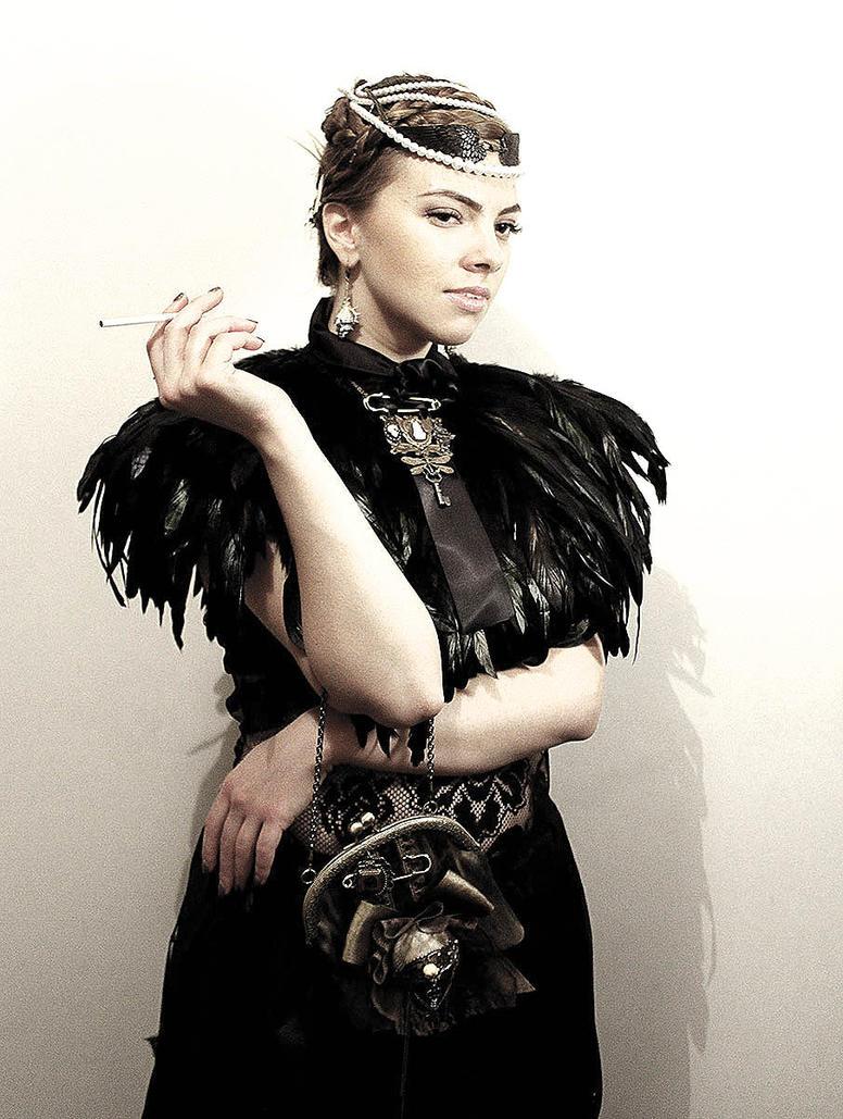 Feather pelerine III by Pinkabsinthe