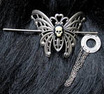 Gothic moth skull hair pin III