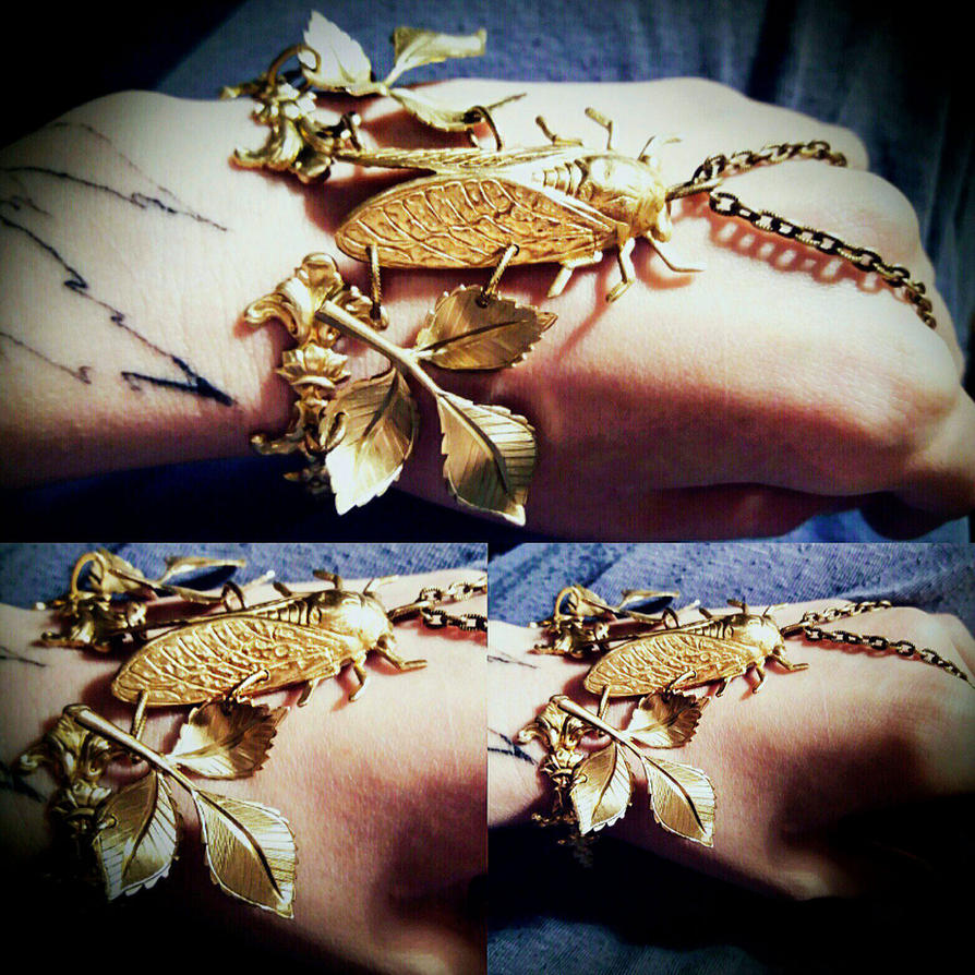 Cicada bracelet boho cuff by Pinkabsinthe