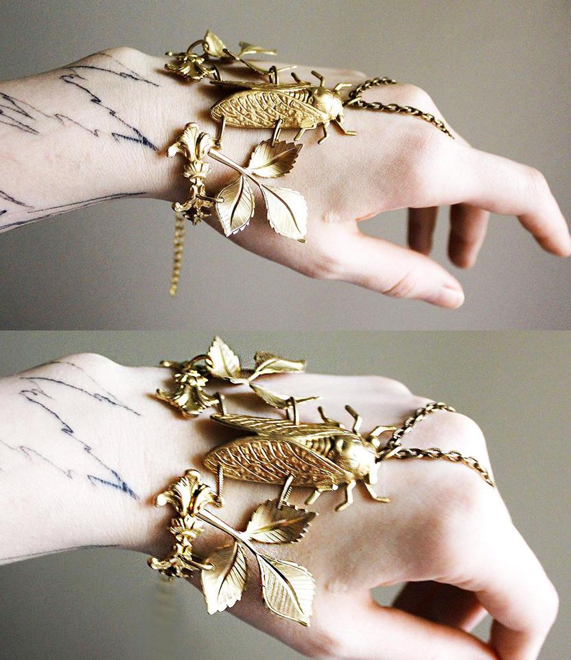 Cicada bracelet boho cuff III by Pinkabsinthe