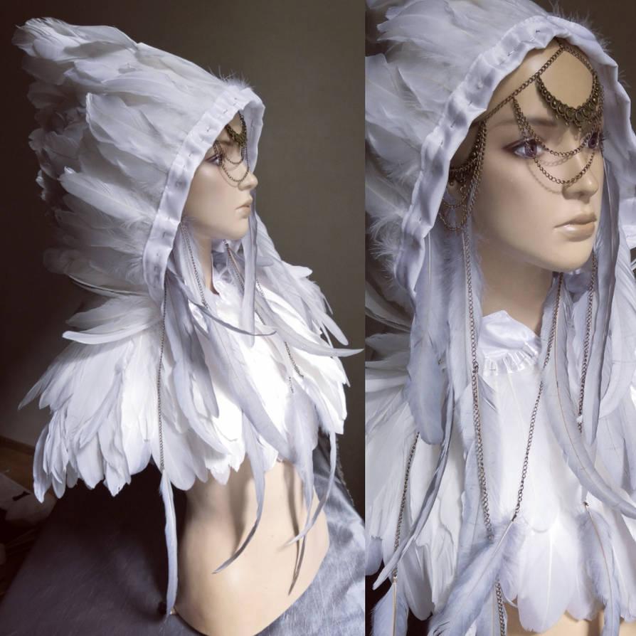 white feather pelerine by Pinkabsinthe