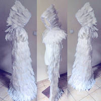 white feathered cloak with hooded pelerine