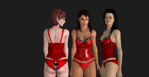 WIP Romance Red Corsets by Cherry-Wayne