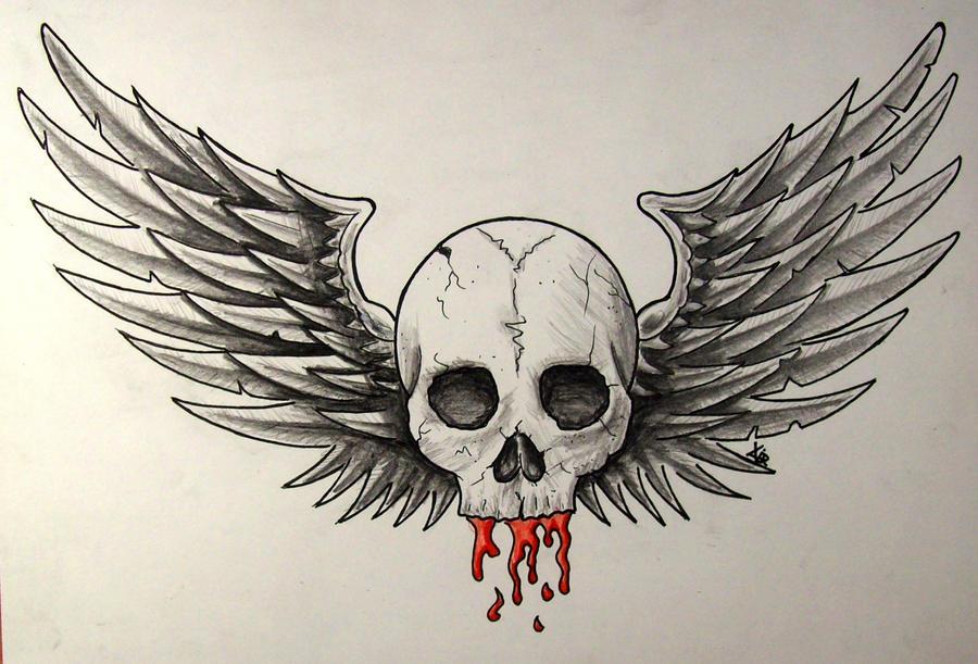 Winged skull by crazyxav