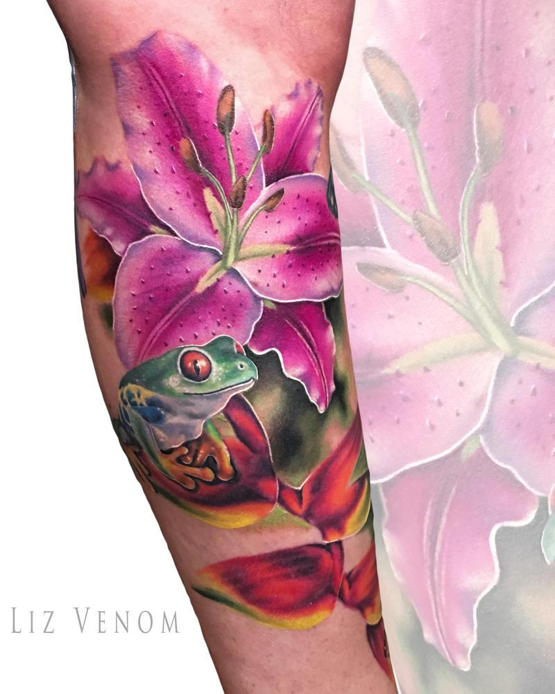 Frog Lily Tattoo Idea Design Flower Liz Venom By Lizvenom On Deviantart