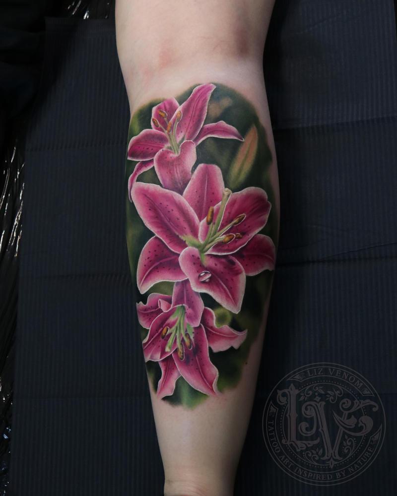Realistic stargazer lily flower tattoo liz venom by lizvenom on realistic stargazer lily flower tattoo liz venom by lizvenom izmirmasajfo